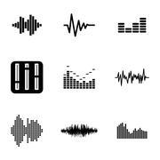 Vector black music soundwave icons set - stock illustration