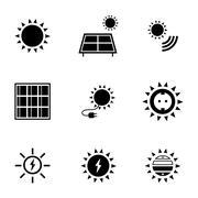Vector black solar energy icons set Stock Illustration