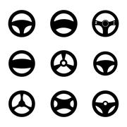 Vector black Steering wheels icons set Stock Illustration