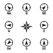 Vector black wind rose icons set - stock illustration