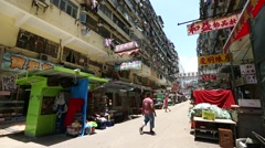 Sham Shui Po, Hong Kong- July 2016: Traditional old town in Hong Kong Stock Footage