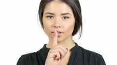 Keep the Secret,  Silence Gesture By Beautiful Girl Stock Footage