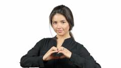 Love Feelings, Beautiful Girl's Hand in Heart Shape, Gesture - stock footage