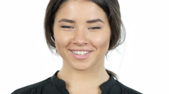 Smiling Young Brunette Girl, Portrait Stock Footage