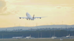 Boeing 747 take-off from Frankfurt Stock Footage