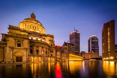 The Church of Christ, Scientist and modern buildings at the Christian Science Stock Photos