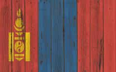 Flag of Mongolia painted on wooden frame Stock Photos