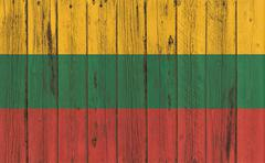 Flag of Lithuania painted on wooden frame Stock Photos