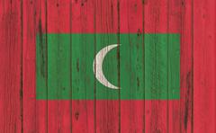 Flag of Maldives painted on wooden frame - stock photo