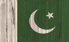 Flag of Pakistan painted on wooden frame Stock Photos
