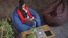 Female holding smartphone and write sms Stock Footage