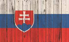 Flag of Slovakia painted on wooden frame - stock photo