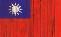 Flag of Taiwan painted on wooden frame - stock photo
