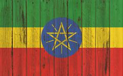 Flag of Ethiopia painted on wooden frame Stock Photos