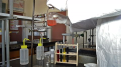 Red Fluid Filtration in the Laboratory Experiment2 Stock Footage