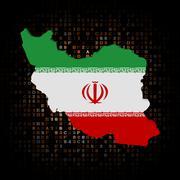 Iran map flag on hex code illustration - stock illustration