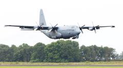 LEEUWARDEN, THE NETHERLANDS - JUNE 10, 2016: Dutch Air Force Lockheed C-130H- Stock Photos