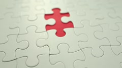 Puzzle piece put into missing places Stock Footage