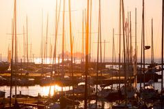 rows of boats mast - stock photo