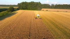 Front aerial view combine harvesting field 4K Stock Footage
