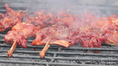 Traditional grilled chicken skewers, smoke makes cancer Stock Footage