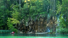 Waterfall and Lake in Plitvice, National Park, beautiful place in Croatia. Stock Footage