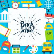 Back to School Paper Template Concept - stock illustration