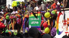 Participants on a parade float dancing at the 36th Annual Pride Parade  - stock footage