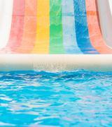 Tobogan, water slide, summer vacation fun activities - stock photo