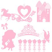 Cinderella set of collections. Crown, Vector illustration. design elements for Stock Illustration