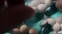 Blue And White Pills Stock Footage