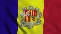 Realistic Ultra-HD flag of the Andorra waving in the wind. Seamless loop with Stock Footage