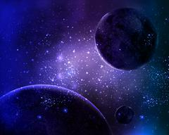 Three planets in the night sky star Stock Illustration