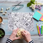 Flat lay, female coloring adult coloring books, new stress relieving trend - stock photo