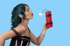 Hot woman holding dynamite Kuvituskuvat