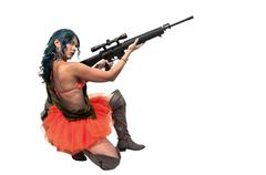 Woman with Assault Rifle Stock Photos