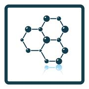 Icon of chemistry hexa connection of atoms - stock illustration