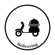 Delivering motorcycle icon Stock Illustration