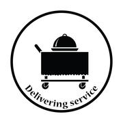 Restaurant  cloche on delivering cart icon - stock illustration