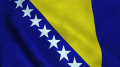 Realistic Ultra-HD flag of the Bosnia and Herzegovina waving in the wind - stock footage