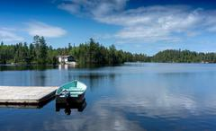 contryside ontario canada nature sunny day on the lake - stock photo