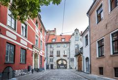 The Swedish Gate In Riga old Town Stock Photos