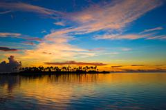 Beautiful colorful sunset in tropical island at Maldives Stock Photos