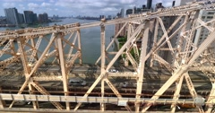 Side View of the Ed Koch Queensboro Bridge as Seen from the Roosevelt Tramway  	 Stock Footage