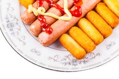 Isolated fast food plate Stock Photos