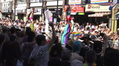 Performers on Stilts at Toronto's 36th Annual Pride Parade 2016 Stock Footage