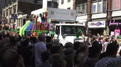 Participants on a parade float dancing at the 36th Annual Pride Parade  Stock Footage