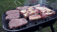 Close up of bbq cooking on grill Stock Footage