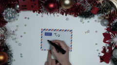 4k Christmas Composition on a White Background with a Letter for Santa Stock Footage