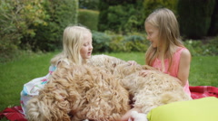 4K 2 little girls playing in the garden with pet dogs Stock Footage